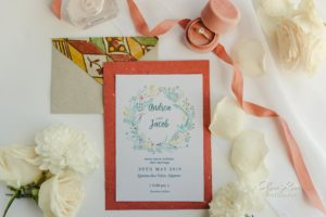 Invitation set with engagement ring and flowers, Algarve wedding new shoot