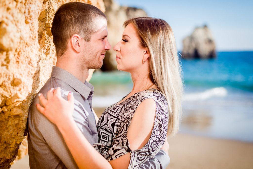 Romantic newlywed couple photosession in Praia dos Tres Irmaos