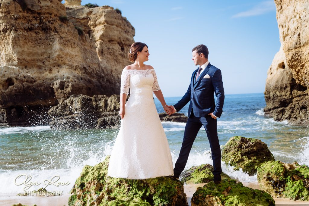 After wedding photosession on Sao Rafael beach in Albufeira
