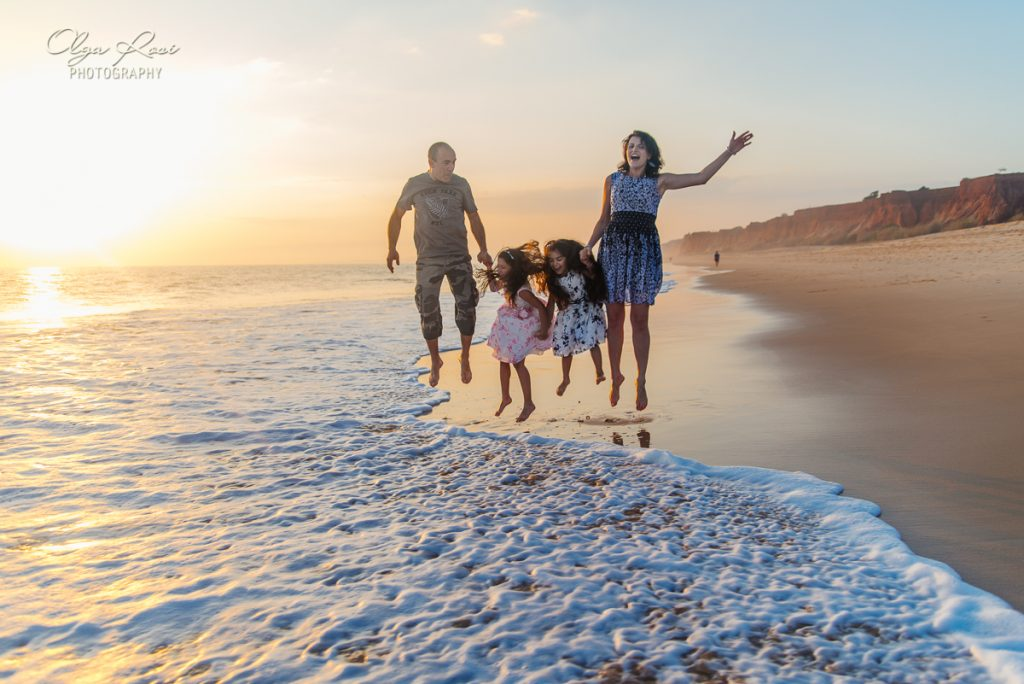 Family walking at sunset, beach photography in Algarve, Portugal