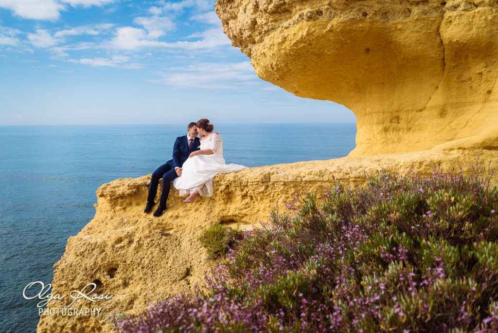 After wedding photo shoot on Sao Rafael beach in Albufeira