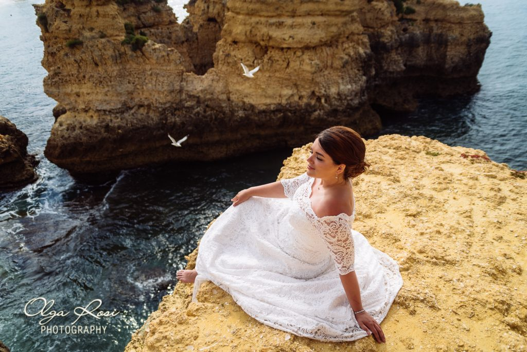After wedding photosession on Sao Rafael beach in Algarve